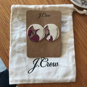 New J Crew silver disk earrings with bag